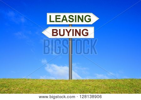 Sign with two arrows shows buying or leasing