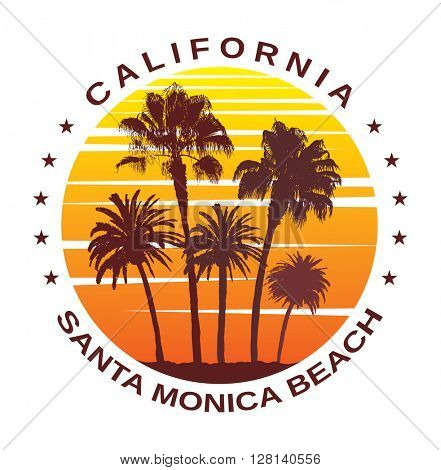 Travel Background for Santa Monica, California. Exotic Print with Palm Trees for T-Shirt.