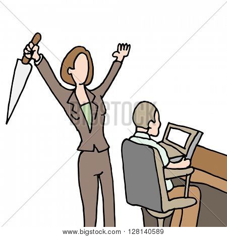 An image of a female employee backstabbing co-worker.