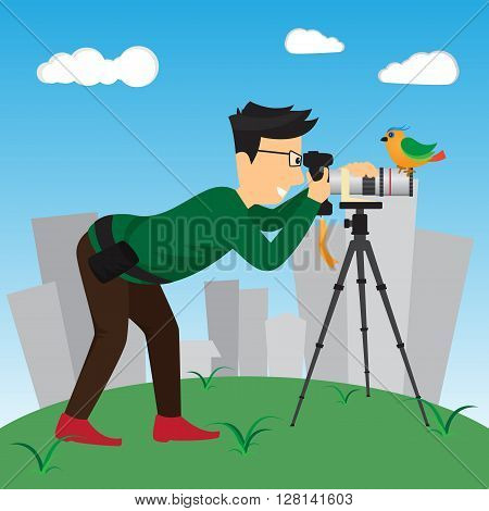 Wildlife Photographer with city background. vector illustration.
