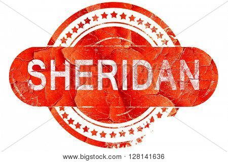 sheridan, vintage old stamp with rough lines and edges