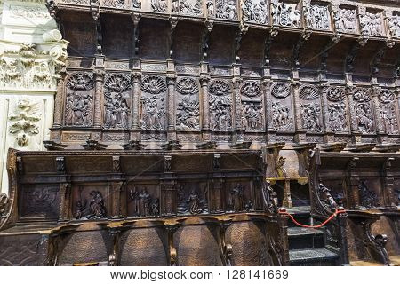 JAEN SPAIN - may 2016 2: The choir is one of the largest in Spain, Carved in wood of walnut, two differentiated styles, Fleming and classicist that are completed with added during the XVIIIth century of baroque influence, Jaen Spain