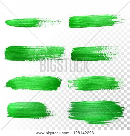 Vector green watercolor glitter brush stroke set. Abstract polish splash trace. Green oil paint smear dab line on transparent background