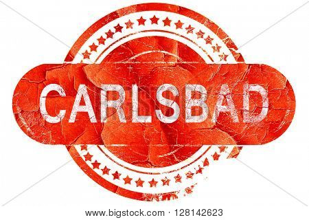 carlsbad, vintage old stamp with rough lines and edges
