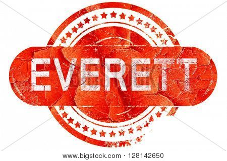 everett, vintage old stamp with rough lines and edges