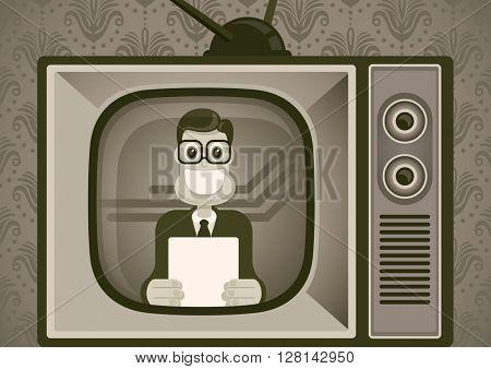 Comic anchorman. Vector illustration.