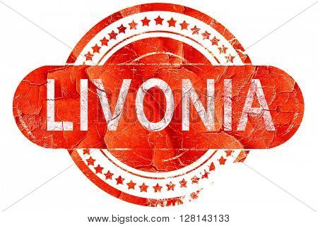livonia, vintage old stamp with rough lines and edges