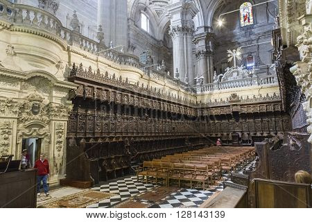 JAEN SPAIN - may 2016 2: The choir is one of the largest in Spain since it consists of 148 seats was completed in the 18th century the stalls are of Walnut wood under the choir are buried numerous bishops, Jaen, Spain