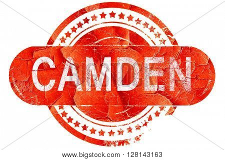 camden, vintage old stamp with rough lines and edges