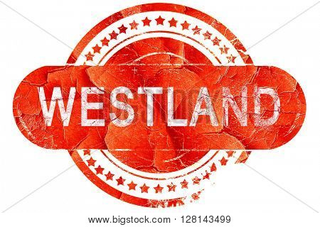westland, vintage old stamp with rough lines and edges