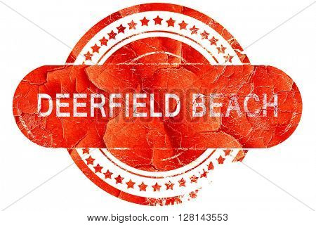 deerfield beach, vintage old stamp with rough lines and edges
