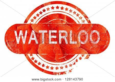 waterloo, vintage old stamp with rough lines and edges