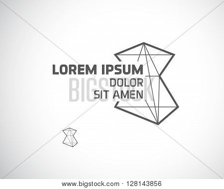 Abstract Logo Design Template. Creative Concept Emblem from Triangles. Polygonal Monochrome Logotype