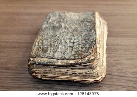 An old religious book with leather cover