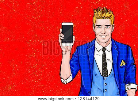 Man with smartphone in the hand in comic style.Man with phone. Man showing mobile phone.Digital advertisement. Iphone, cellphone, student, guy, handsome, flirt, connection, happy, winner,communication