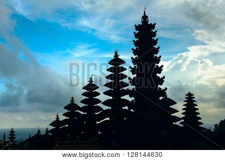 Silhouette of Pura Besakih temple, Bali, Indonesia