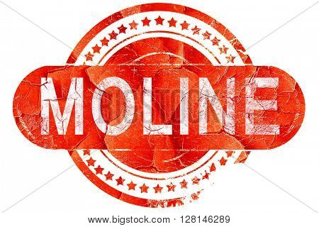 moline, vintage old stamp with rough lines and edges
