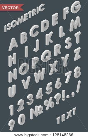 Alphabet of white isometric letters, figures and signs vector template. Use for isometric texts in infographic of flat 3D designs. To alternate just use a reflect tool.