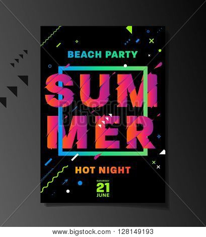 Summer Beach Party Poster. Acid Colors. Abstract Typographic Elements. Hot Night Placard Concept.
