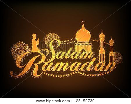 Sparkling golden text Salam Ramadan with Mosque and Praying Muslim Man on brown background for Islamic Holy Month of Prayers celebration.
