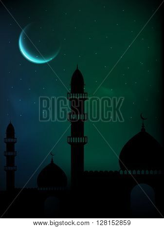 Beautiful Mosque silhouette on moonlight night background, Can be used as Pamphlet, Banner or Flyer design for Islamic Festivals celebration.
