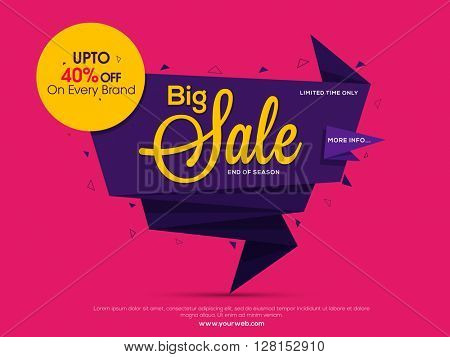 Mother's Day Big Sale, Big Sale Tag, Sale Poster, Sale Banner, Sale Flyer, Upto 40%, Vector illustration.
