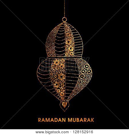 Golden floral design decorated, Beautiful Lamp on black background for Holy Month of Muslim Community, Ramadan Mubarak celebration.