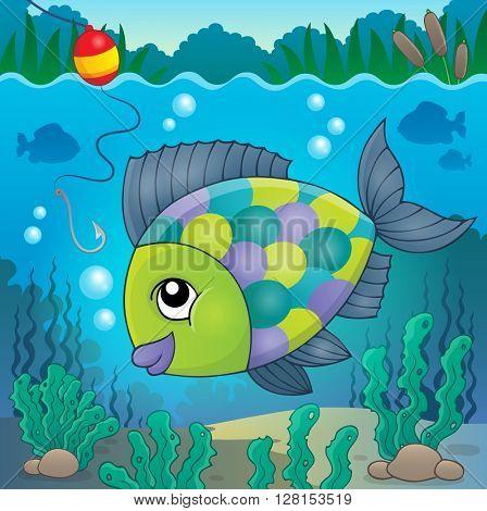 Freshwater fish topic image 3 - eps10 vector illustration.