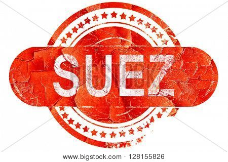 suez, vintage old stamp with rough lines and edges