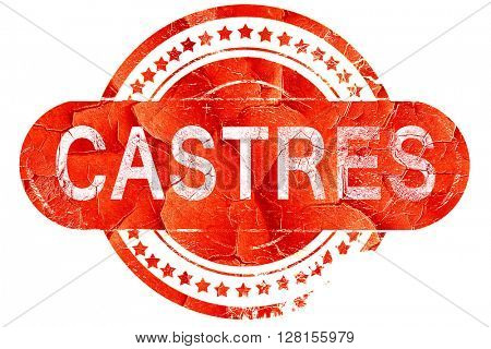 castres, vintage old stamp with rough lines and edges