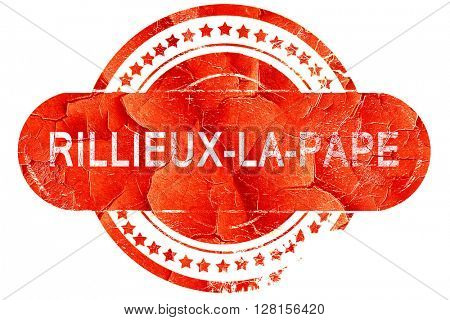 rillieux-la-pape, vintage old stamp with rough lines and edges