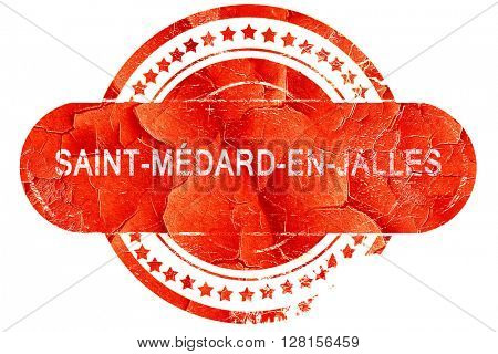 saint-medard-en-jalles, vintage old stamp with rough lines and e