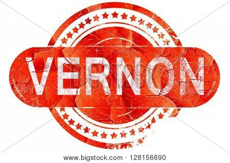 vernon, vintage old stamp with rough lines and edges
