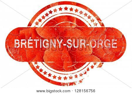 bretigny-sur-orge, vintage old stamp with rough lines and edges