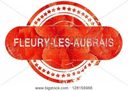 fleury-les-aubrais, vintage old stamp with rough lines and edges