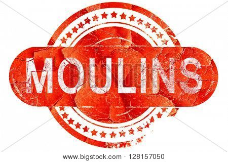 moulins, vintage old stamp with rough lines and edges