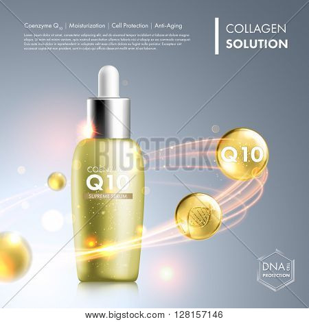 Coenzyme Q10 serum essence bottle. Skin care moisturizing treatment vial design. Anti age DNA helix protection solution. Premium shining enzyme droplet. Vector illustration.
