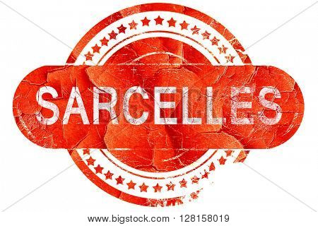 sarcelles, vintage old stamp with rough lines and edges