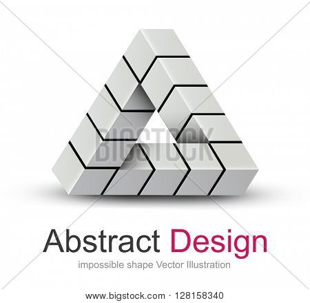 Abstract design 3D, impossible object, vector icon.