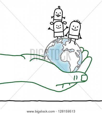 big hand and cartoon characters - kids on Earth