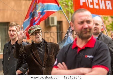 MOSCOW, RUSSIA - MAY 1, 2016: Eduard Limonov, russian nationalist writer and political dissident, founder and former leader of the banned National Bolshevik Party, in rally marking the May Day.