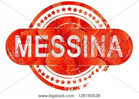 Messina, vintage old stamp with rough lines and edges