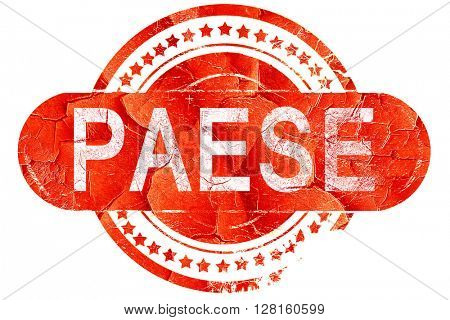 Paese, vintage old stamp with rough lines and edges