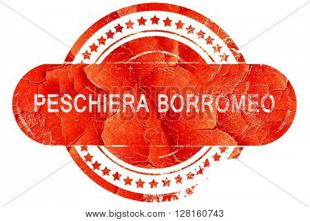 Peschiera borromeo, vintage old stamp with rough lines and edges