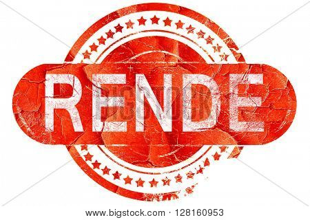 Rende, vintage old stamp with rough lines and edges