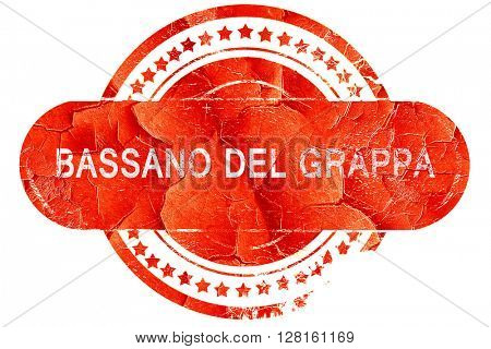 Bassano del grappa, vintage old stamp with rough lines and edges
