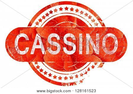 Cassino, vintage old stamp with rough lines and edges