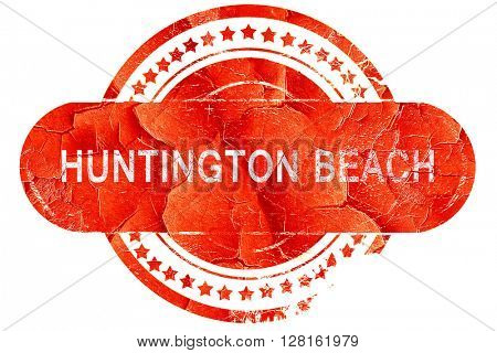 huntington beach, vintage old stamp with rough lines and edges