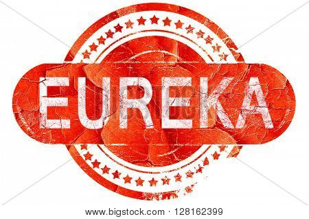 eureka, vintage old stamp with rough lines and edges