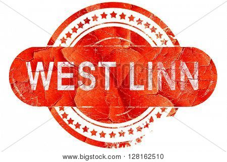 west linn, vintage old stamp with rough lines and edges